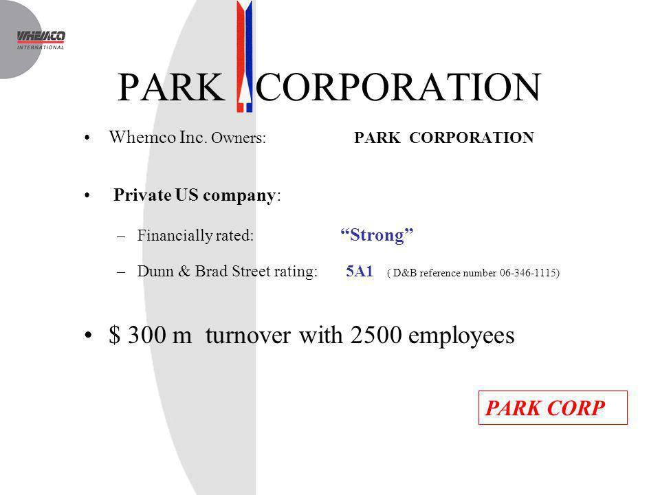 PARK CORPORATION $ 300 m turnover with 2500 employees PARK CORP