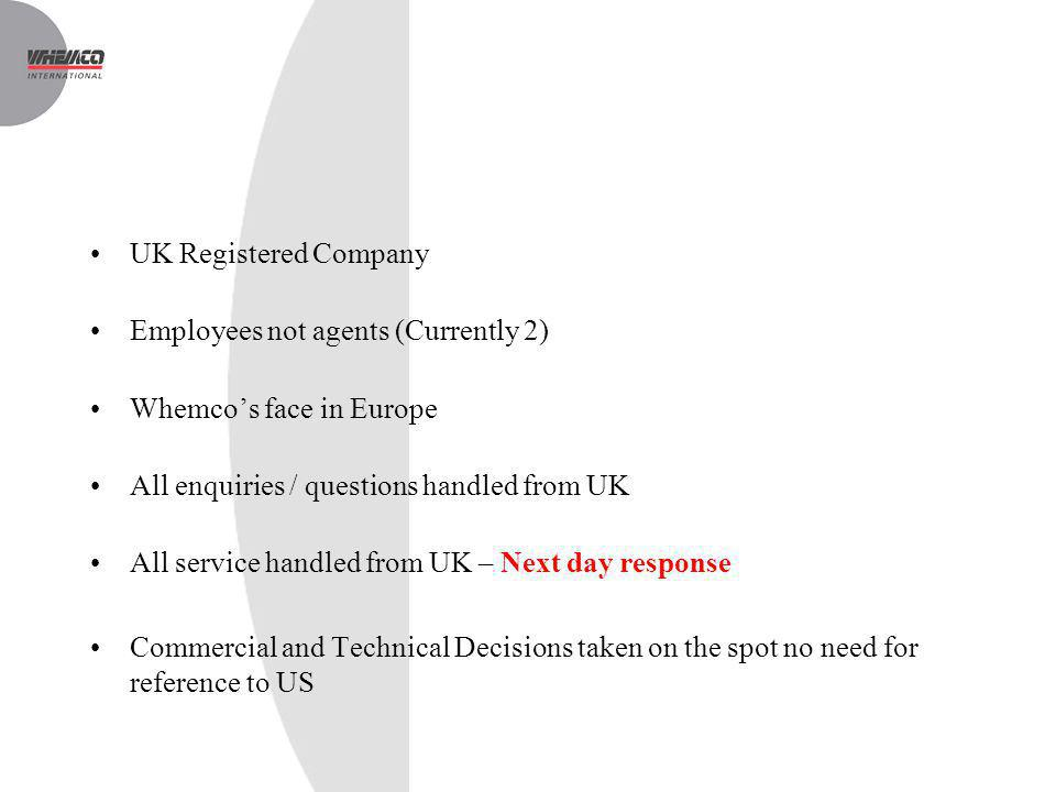 UK Registered Company Employees not agents (Currently 2) Whemco's face in Europe. All enquiries / questions handled from UK.