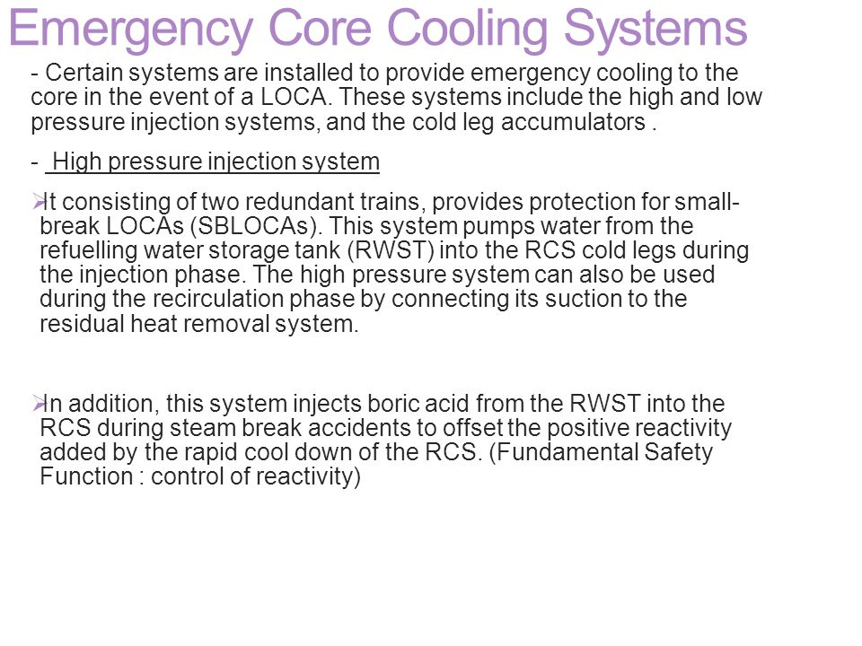 Emergency Core Cooling Systems