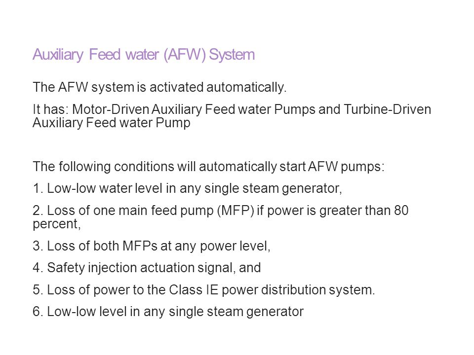 Auxiliary Feed water (AFW) System
