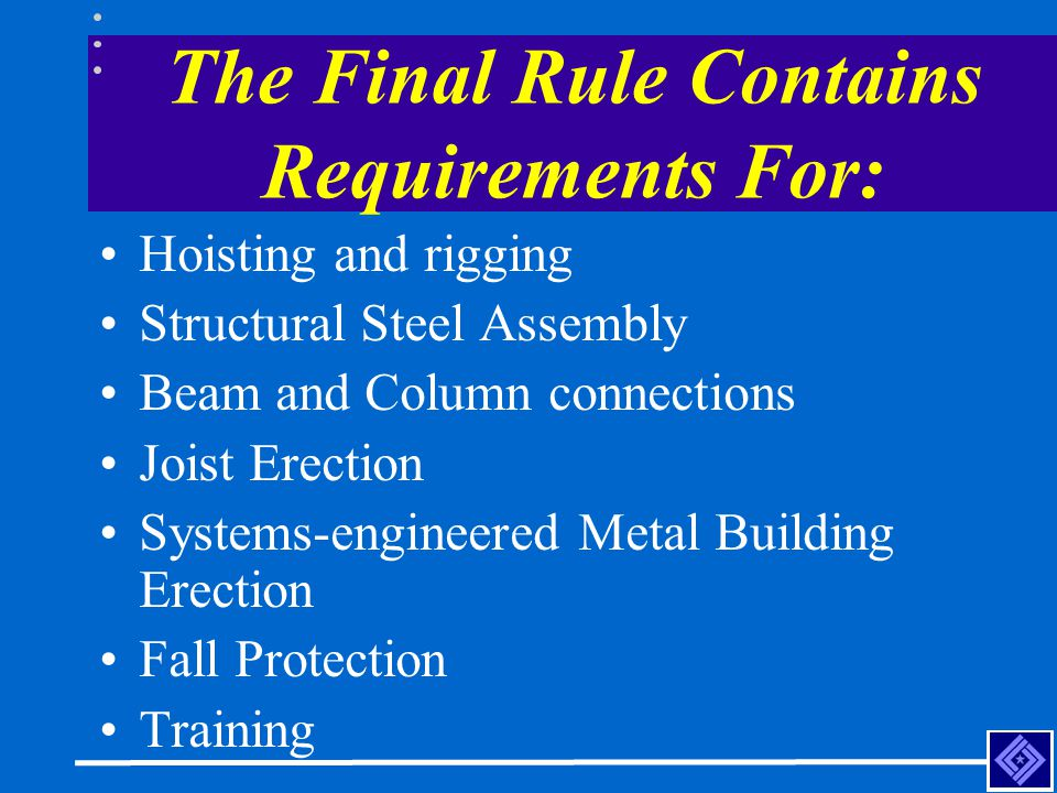 The Final Rule Contains Requirements For: