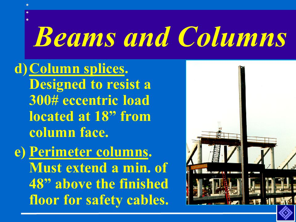 Beams and Columns Column splices. Designed to resist a 300# eccentric load located at 18 from column face.