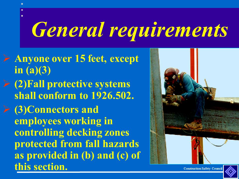 General requirements Anyone over 15 feet, except in (a)(3)