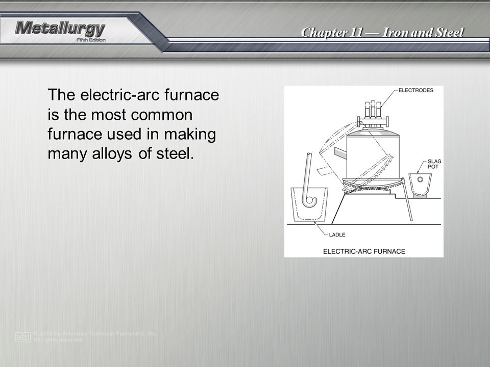 The electric-arc furnace is the most common furnace used in making many alloys of steel.