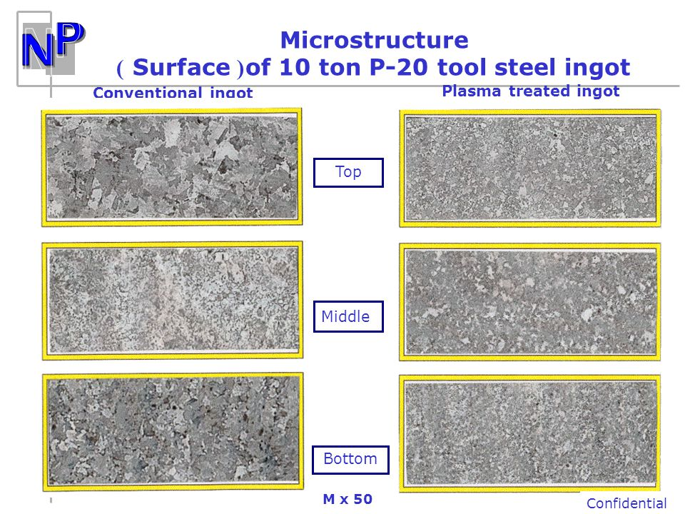 ) Surface (of 10 ton P-20 tool steel ingot