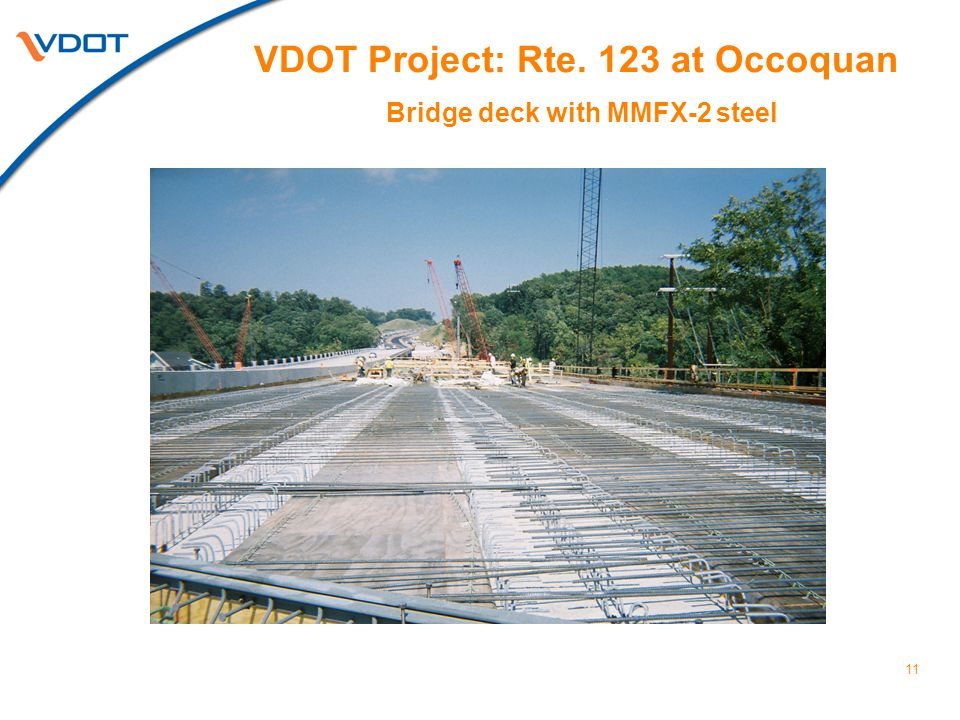 VDOT Project: Rte. 123 at Occoquan Bridge deck with MMFX-2 steel