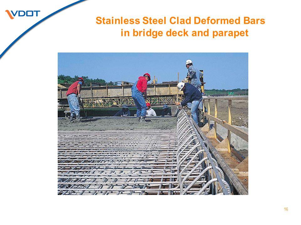 Stainless Steel Clad Deformed Bars in bridge deck and parapet