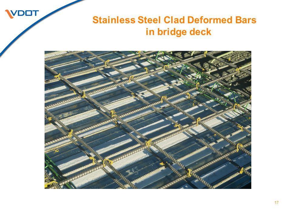 Stainless Steel Clad Deformed Bars in bridge deck