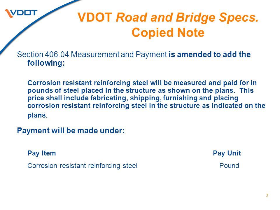 VDOT Road and Bridge Specs. Copied Note