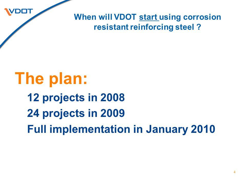 When will VDOT start using corrosion resistant reinforcing steel