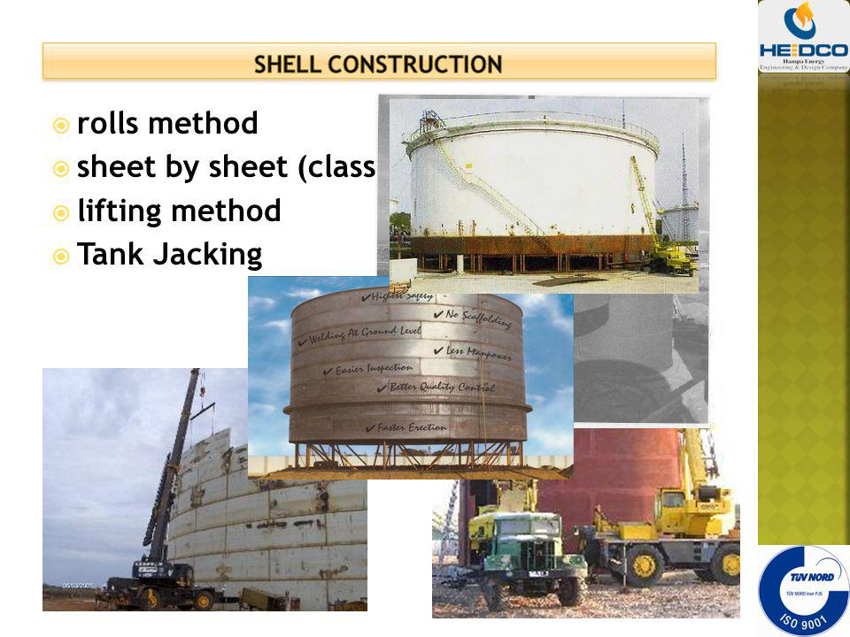 sheet by sheet (classical) method lifting method Tank Jacking