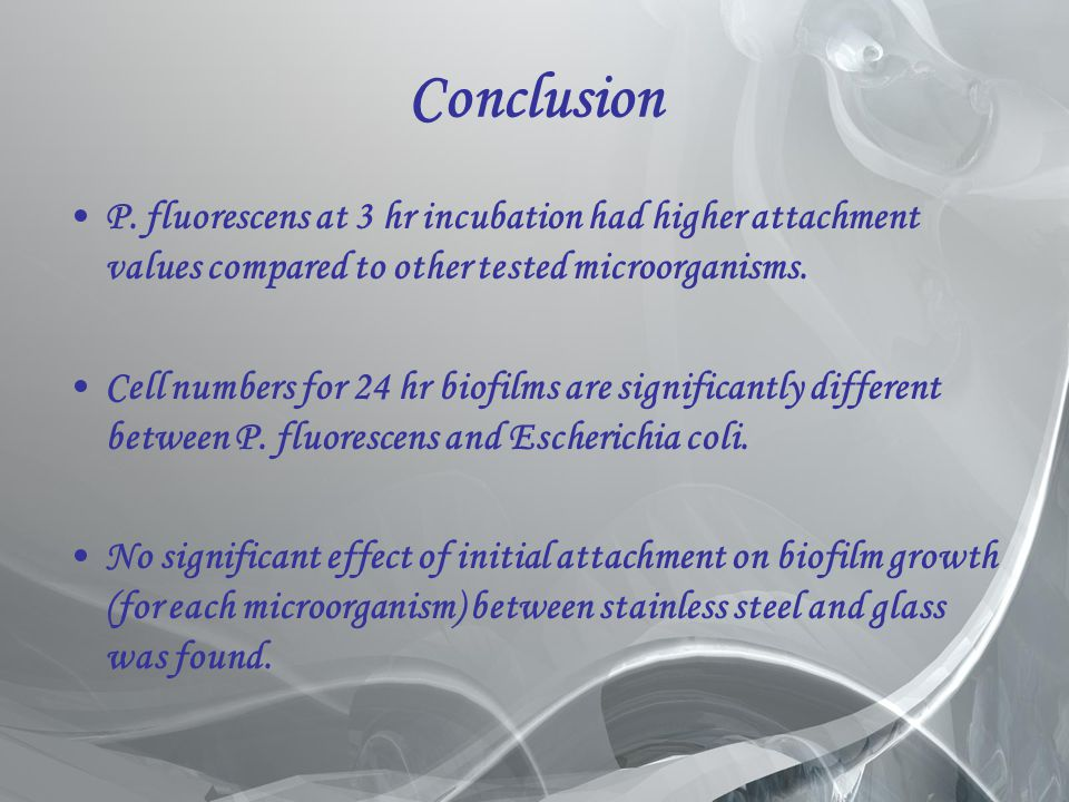 Conclusion P. fluorescens at 3 hr incubation had higher attachment values compared to other tested microorganisms.