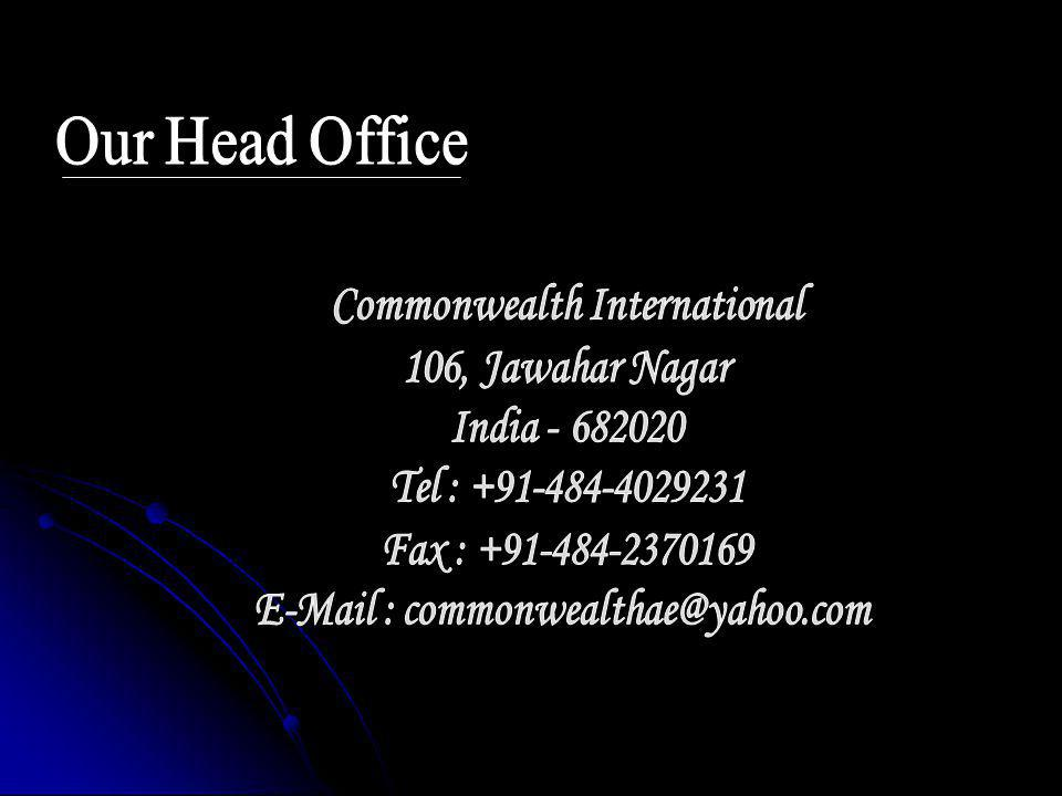 Our Head Office Commonwealth International 106, Jawahar Nagar