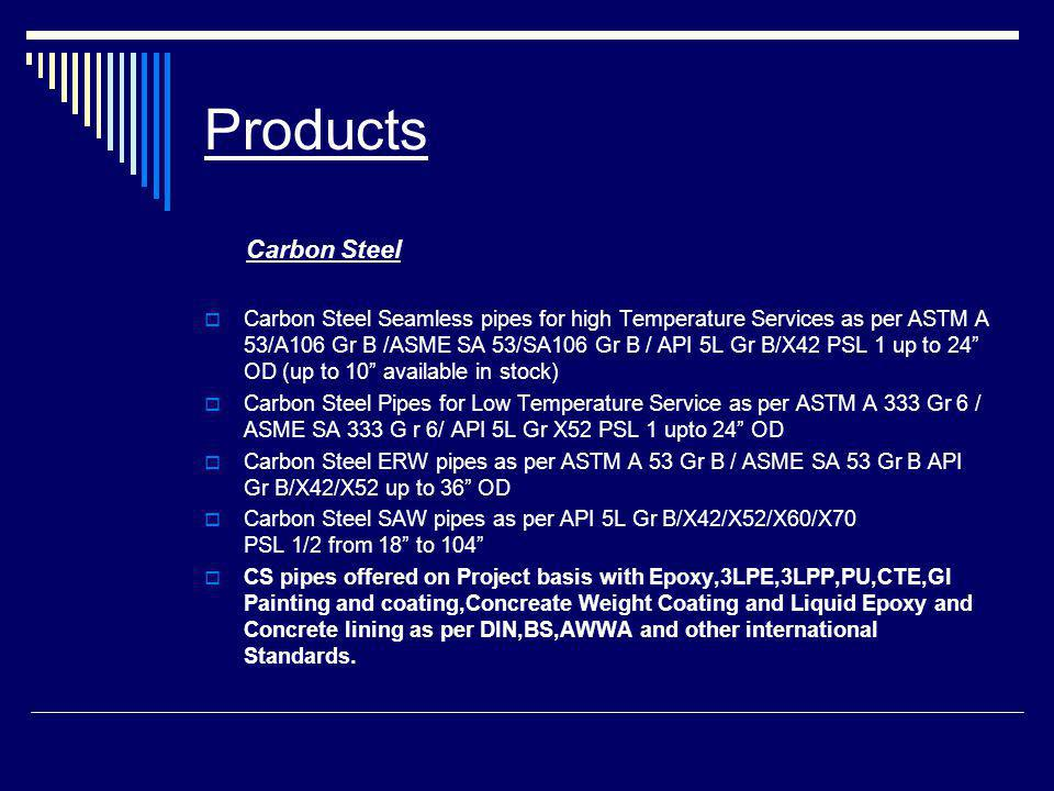 Products Carbon Steel.