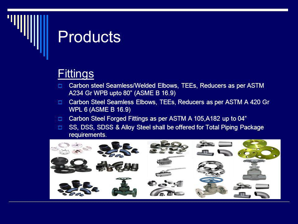 Products Fittings. Carbon steel Seamless/Welded Elbows, TEEs, Reducers as per ASTM A234 Gr WPB upto 80 (ASME B 16.9)