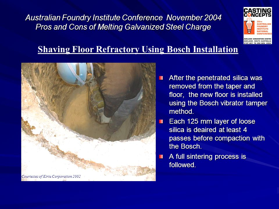 Shaving Floor Refractory Using Bosch Installation