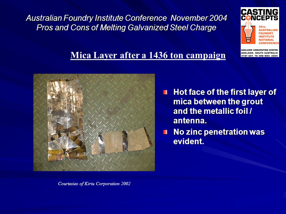 Mica Layer after a 1436 ton campaign