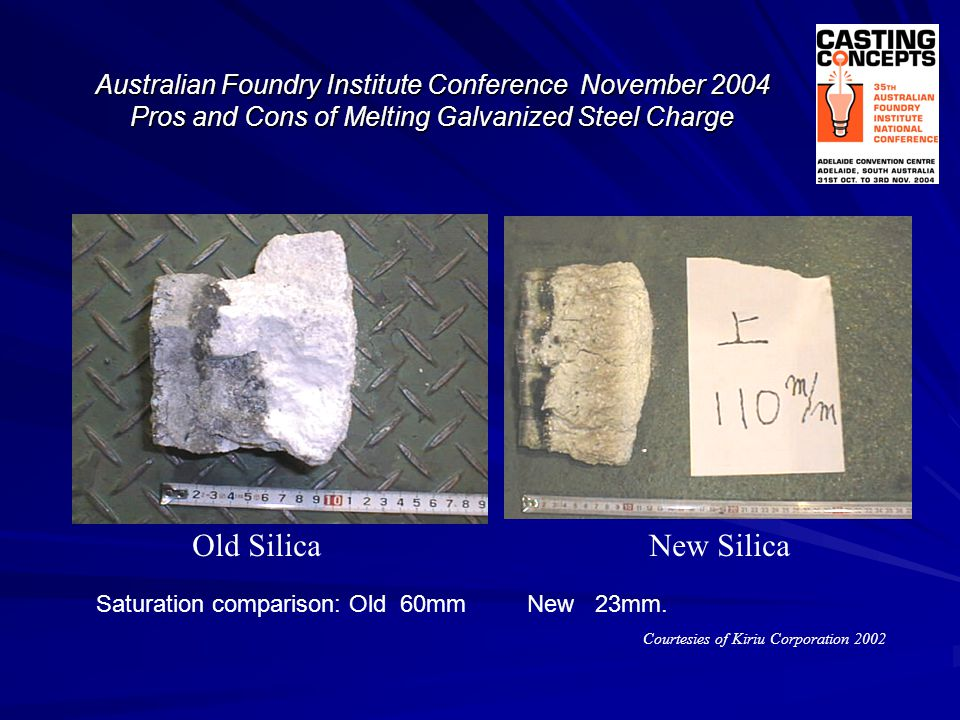 Australian Foundry Institute Conference November 2004 Pros and Cons of Melting Galvanized Steel Charge