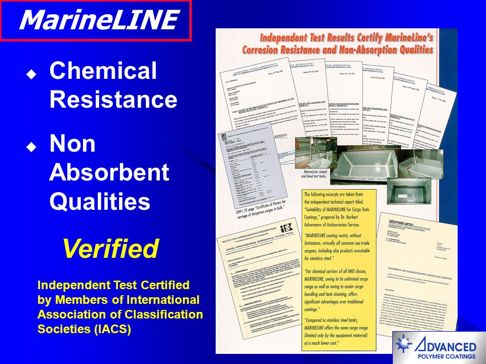 MarineLINE Verified Chemical Resistance Non Absorbent Qualities