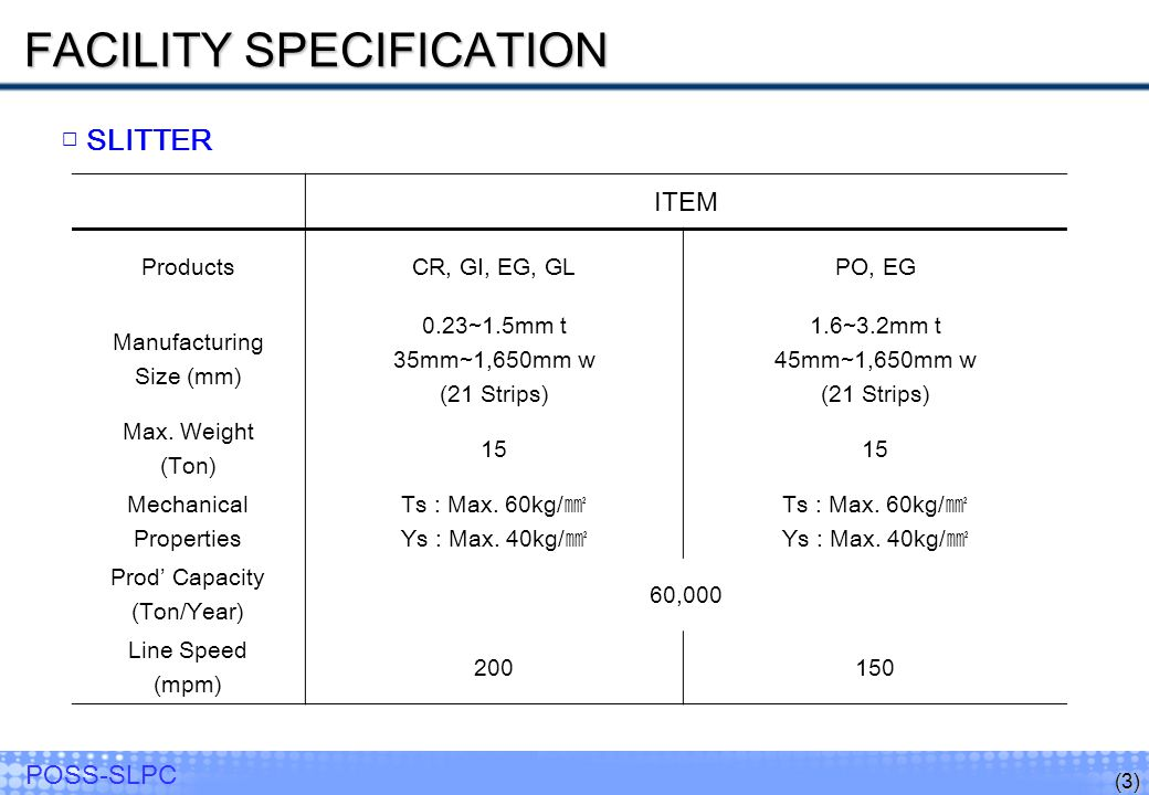 FACILITY SPECIFICATION