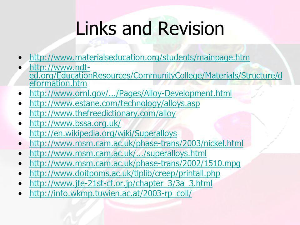 Links and Revision http://www.materialseducation.org/students/mainpage.htm.
