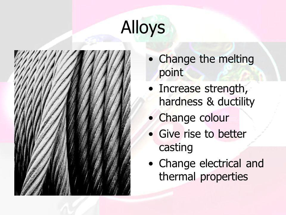 Alloys Change the melting point