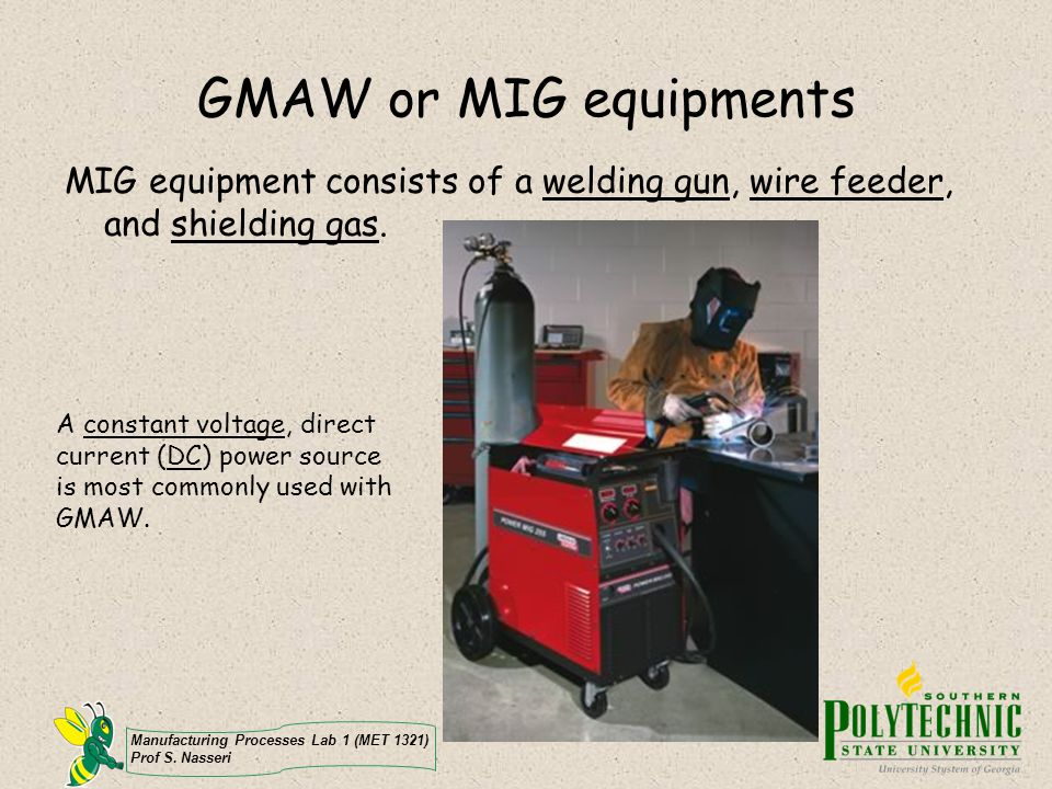 GMAW or MIG equipments MIG equipment consists of a welding gun, wire feeder, and shielding gas.