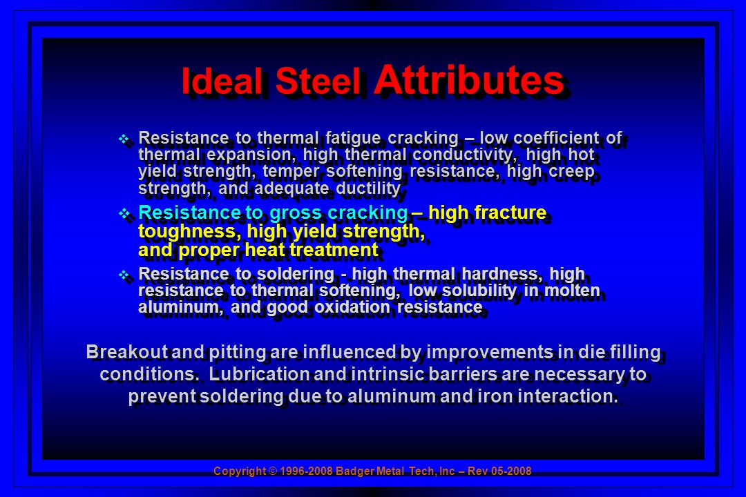 Ideal Steel Attributes