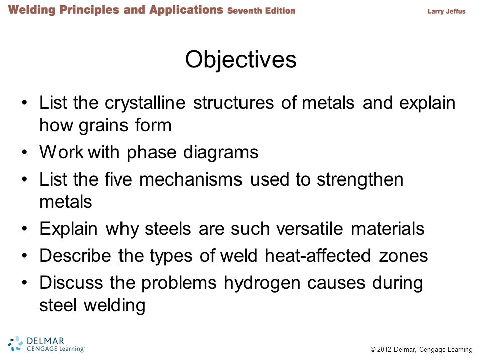 Objectives List the crystalline structures of metals and explain how grains form. Work with phase diagrams.