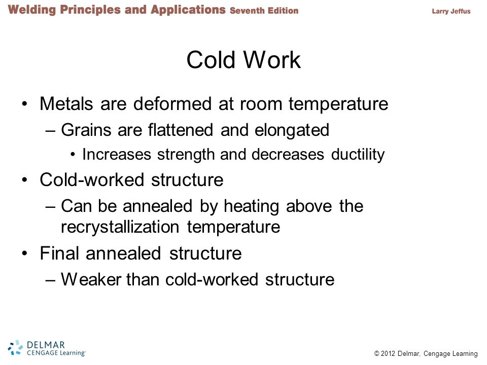 Cold Work Metals are deformed at room temperature