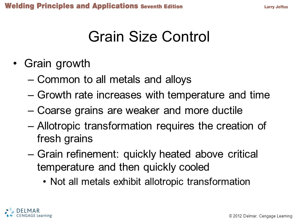 Grain Size Control Grain growth Common to all metals and alloys
