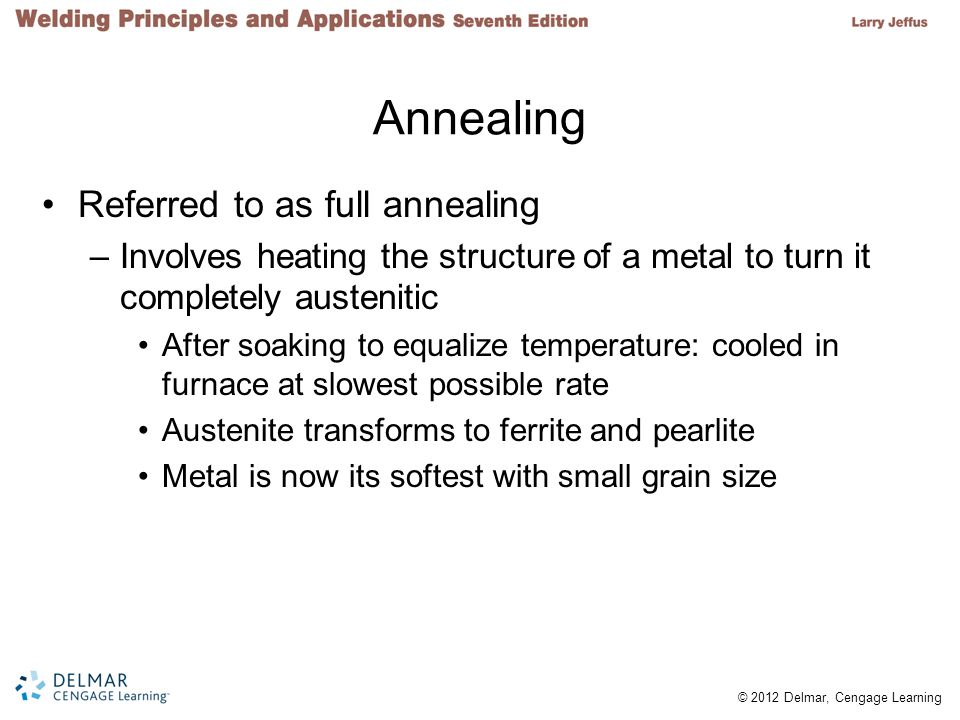Annealing Referred to as full annealing