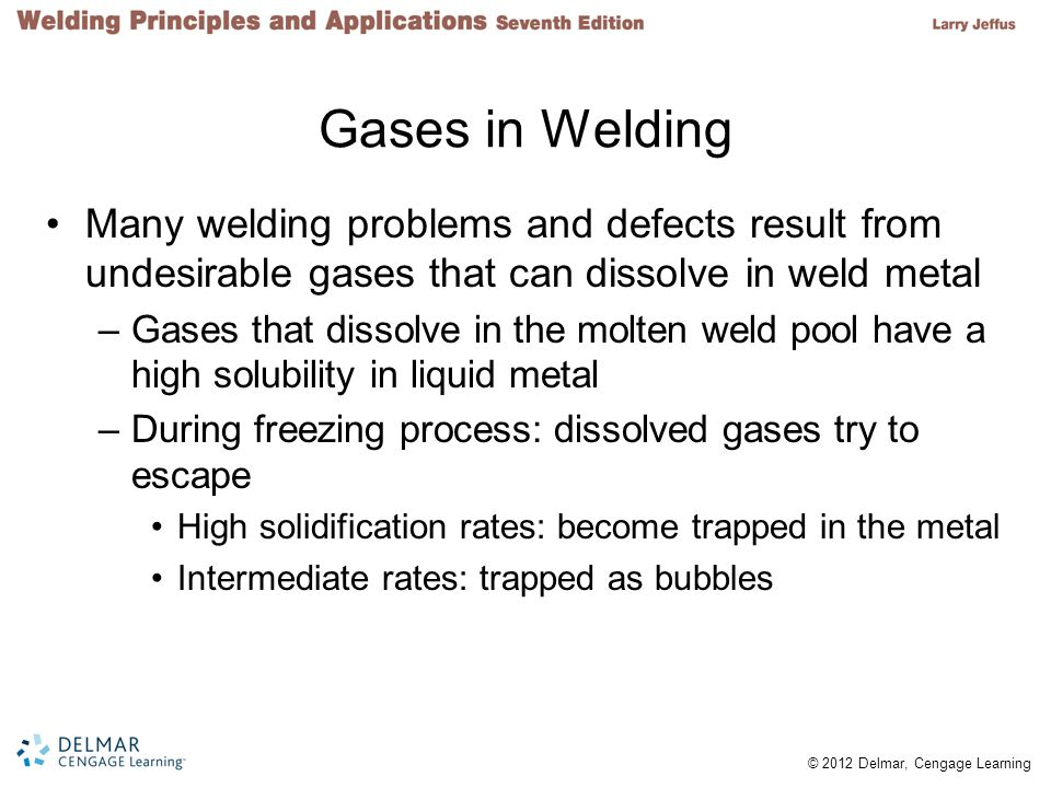 Gases in Welding Many welding problems and defects result from undesirable gases that can dissolve in weld metal.