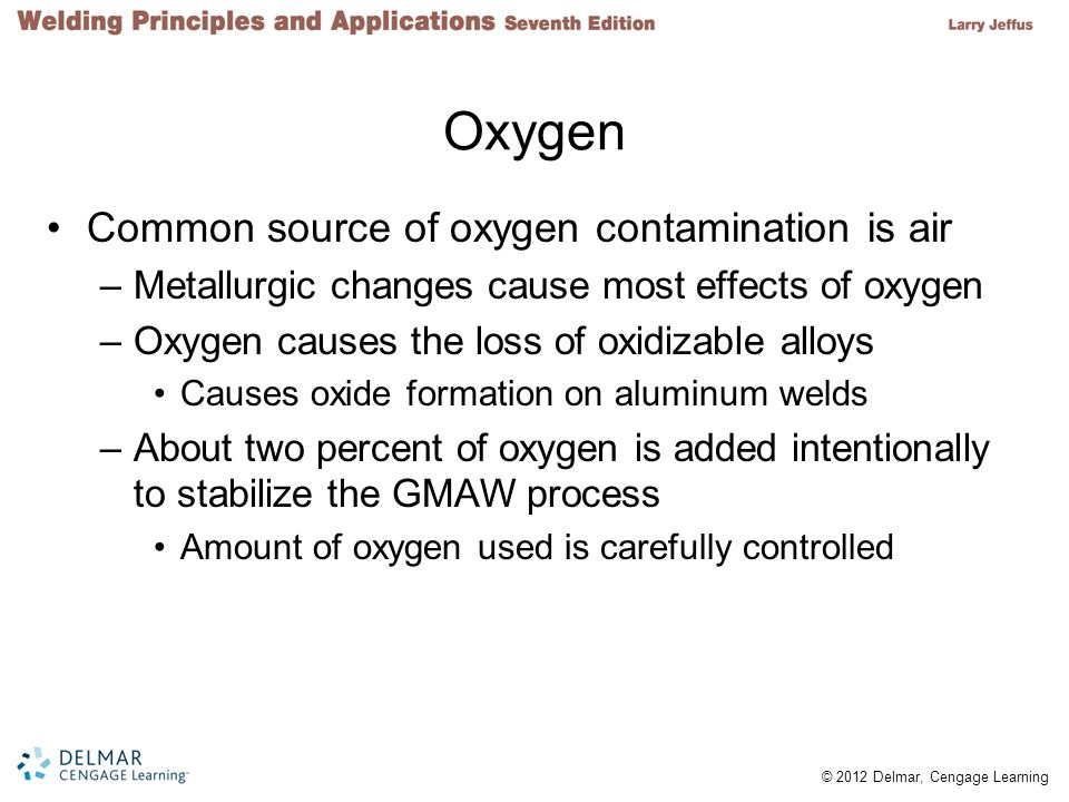 Oxygen Common source of oxygen contamination is air