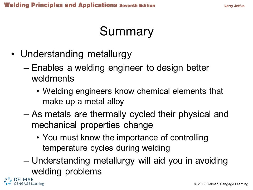 Summary Understanding metallurgy