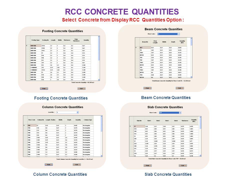 RCC CONCRETE QUANTITIES