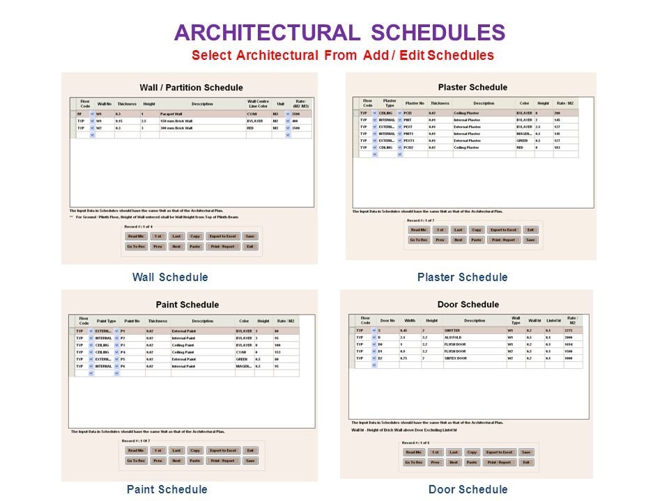 ARCHITECTURAL SCHEDULES Select Architectural From Add / Edit Schedules