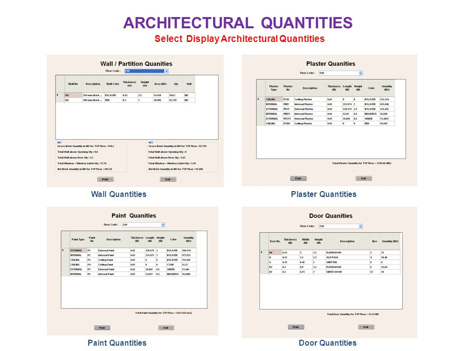 ARCHITECTURAL QUANTITIES Select Display Architectural Quantities