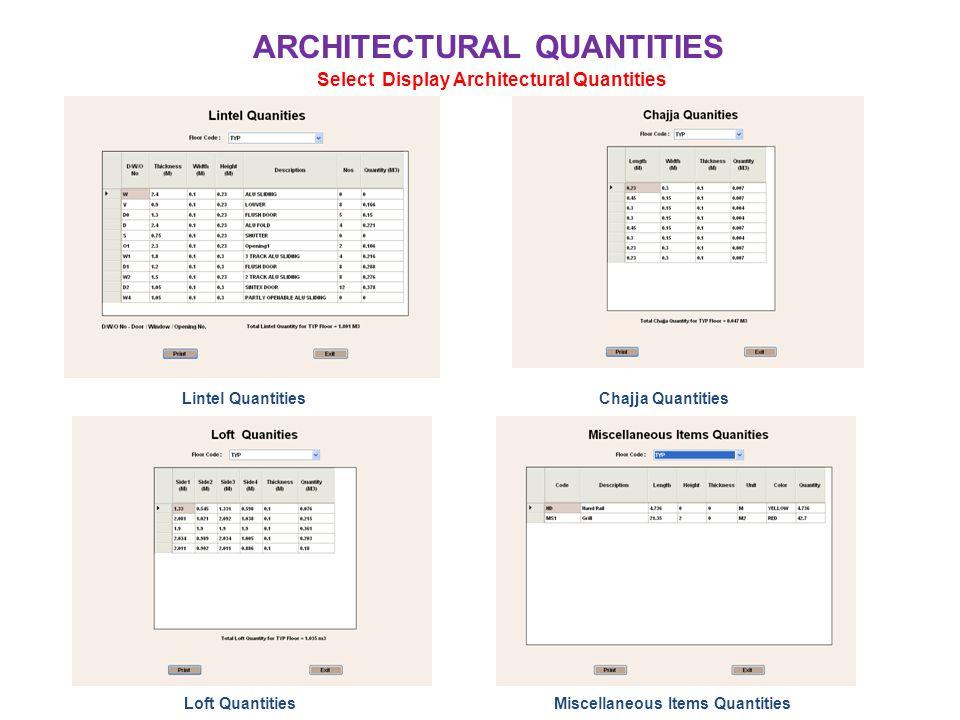 ARCHITECTURAL QUANTITIES