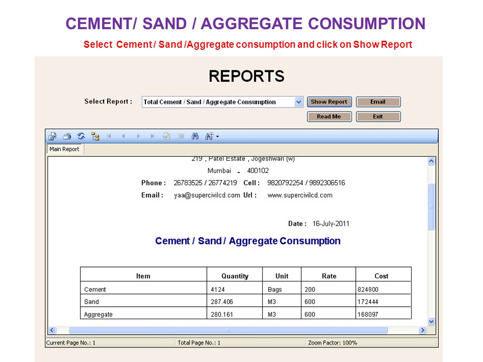 CEMENT/ SAND / AGGREGATE CONSUMPTION