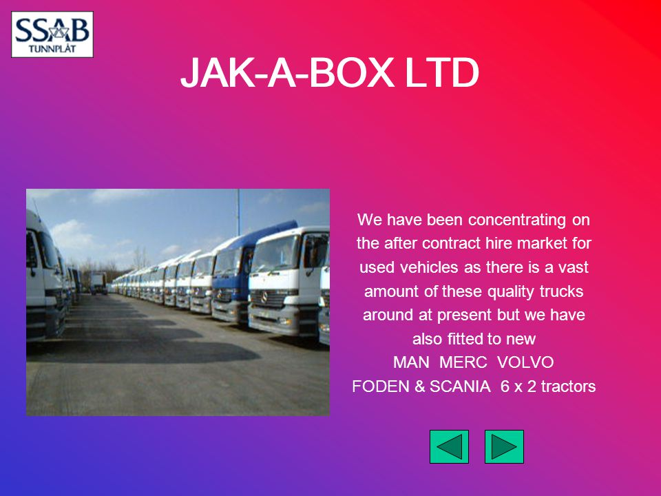 JAK-A-BOX LTD We have been concentrating on