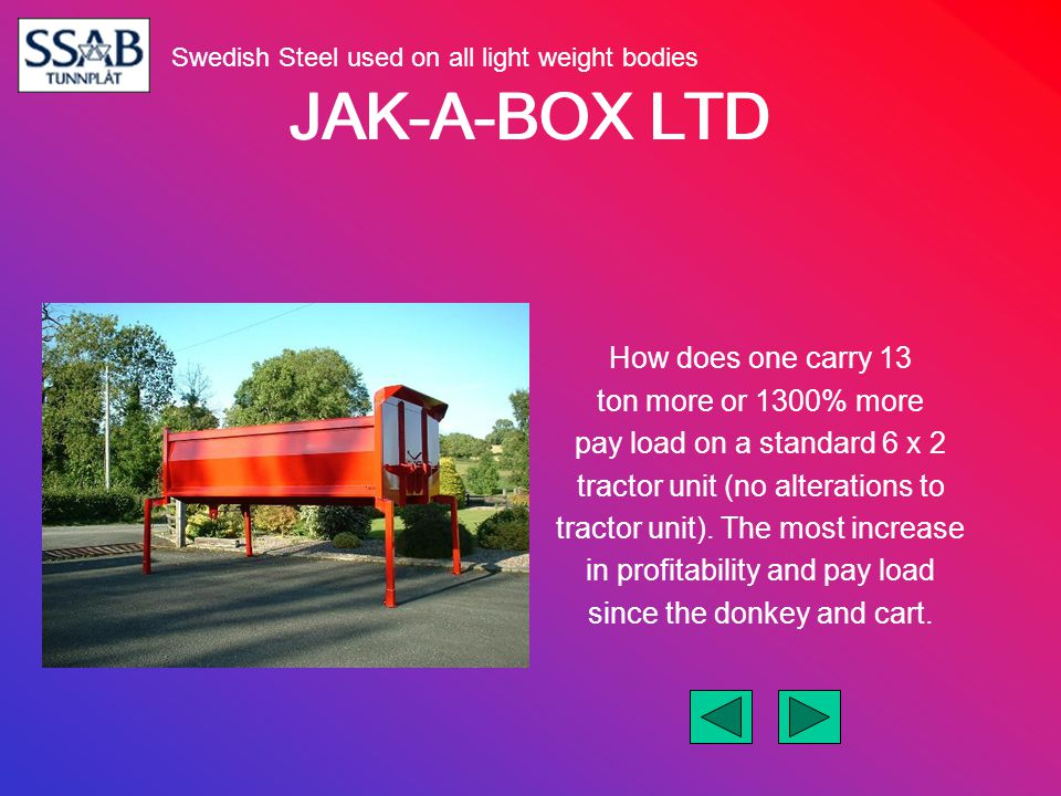 JAK-A-BOX LTD How does one carry 13 ton more or 1300% more