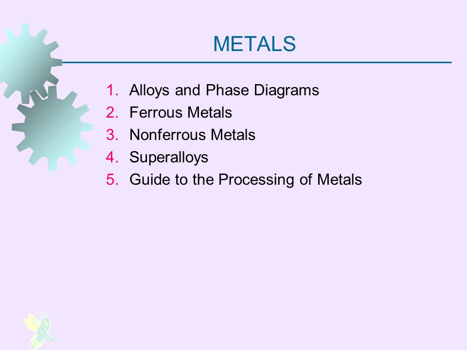 METALS Alloys and Phase Diagrams Ferrous Metals Nonferrous Metals