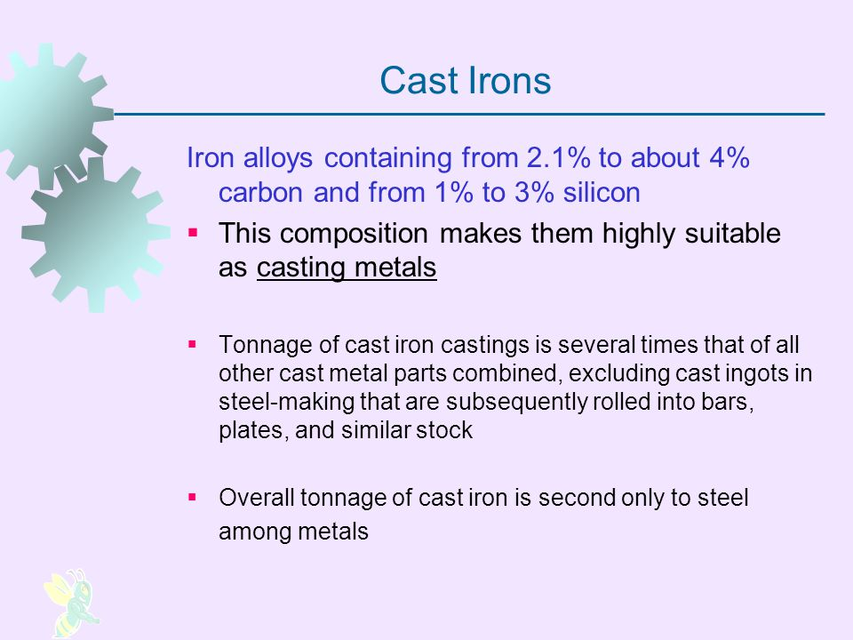 Cast Irons Iron alloys containing from 2.1% to about 4% carbon and from 1% to 3% silicon.