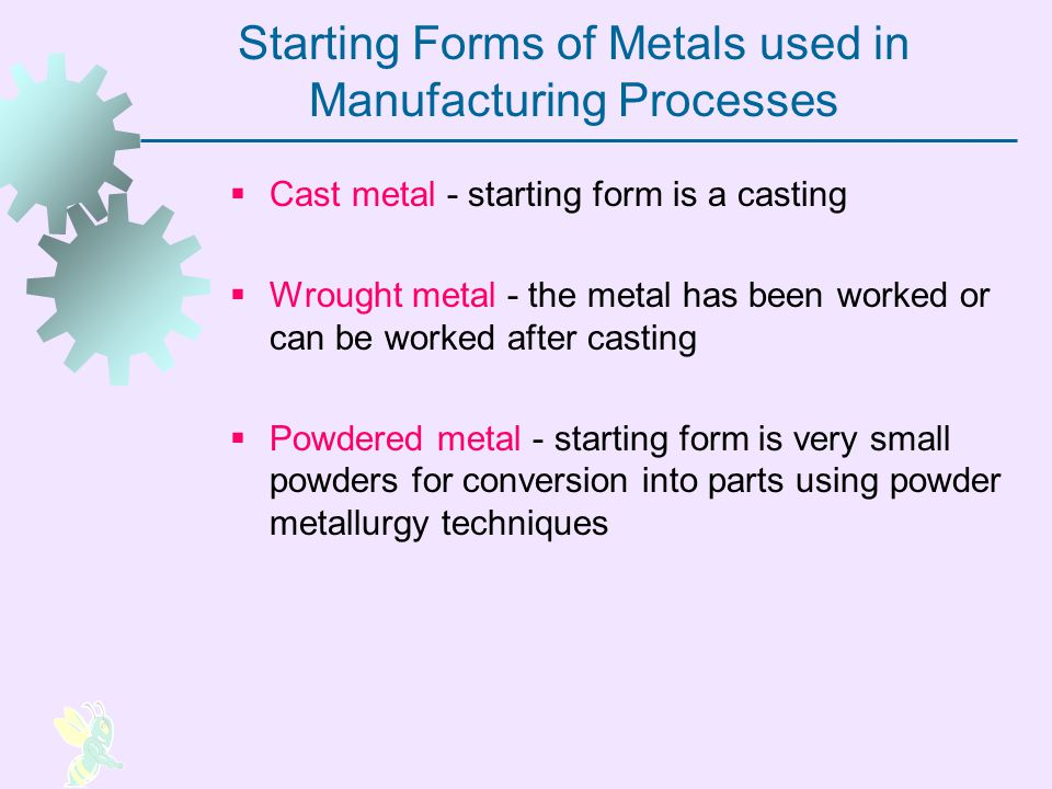 Starting Forms of Metals used in Manufacturing Processes