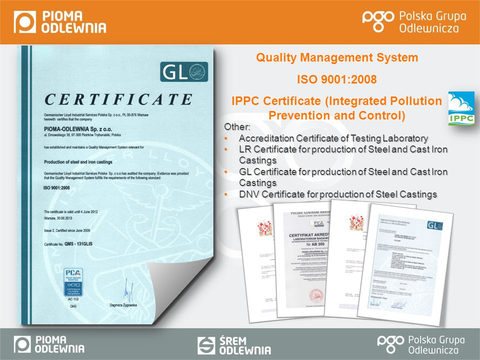IPPC Certificate (Integrated Pollution Prevention and Control)