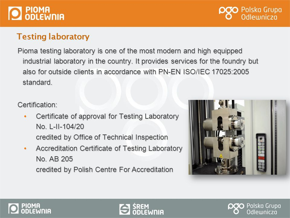 Testing laboratory Certification: