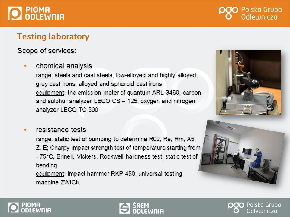 Testing laboratory Scope of services: