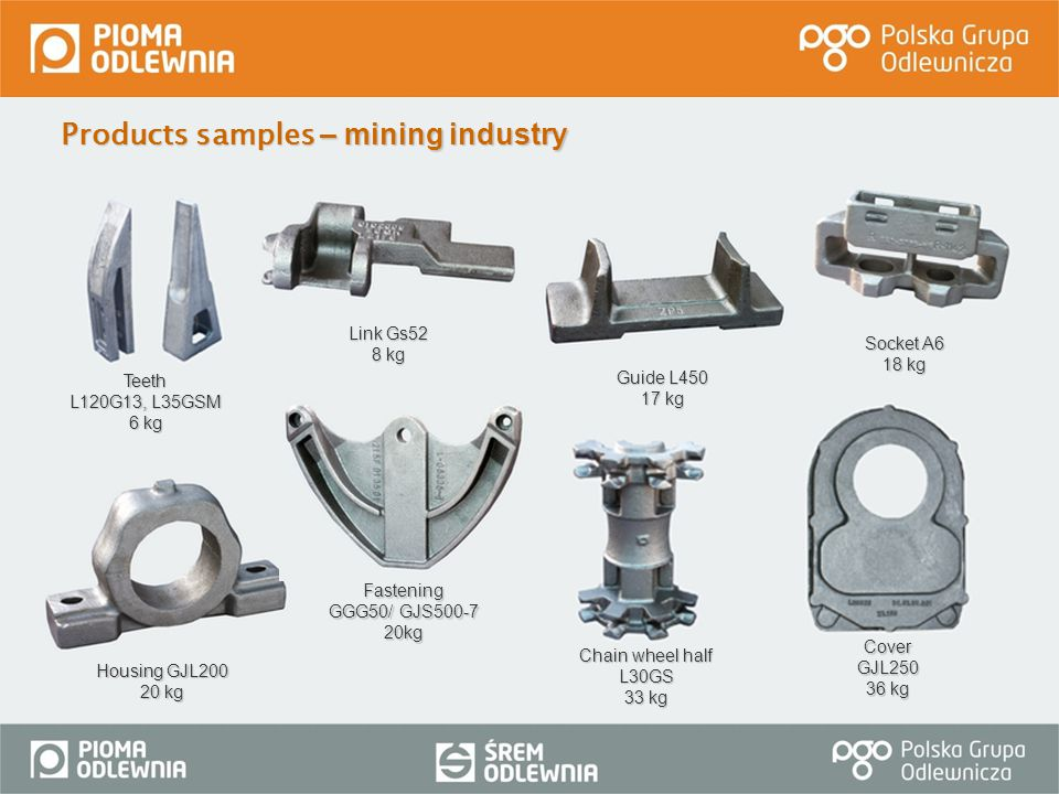 Products samples – mining industry