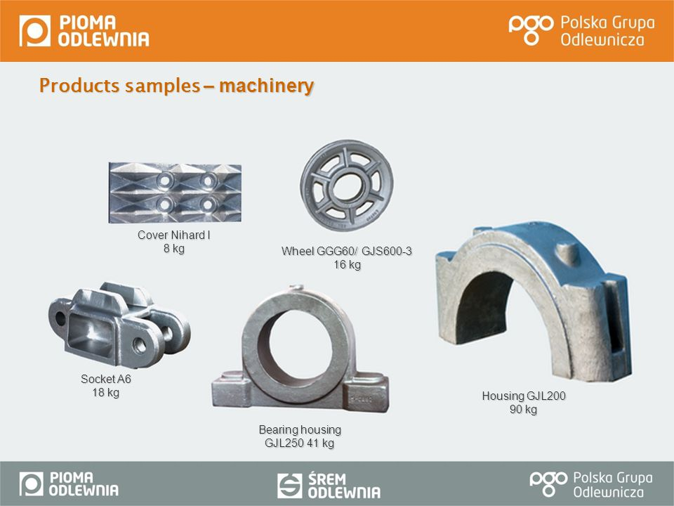 Products samples – machinery